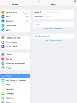 Apple iPad Air - Applications - Configuring the Apple iCloud Service - Step 4
