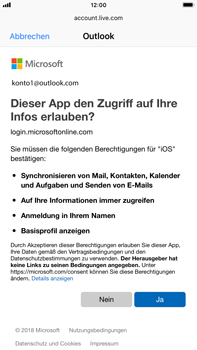 Apple iPhone 8 Plus - iOS 12 - E-Mail - Konto einrichten (outlook) - Schritt 8